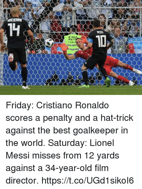 Cristiano Ronaldo, Friday, and Soccer: ES51  521  STEW Friday:  Cristiano Ronaldo scores a penalty and a hat-trick against the best goalkeeper in the world.  Saturday:   Lionel Messi misses from 12 yards against a 34-year-old film director. https://t.co/UGd1sikoI6