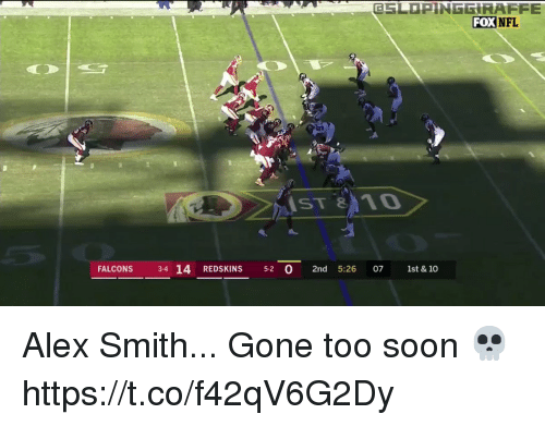 Nfl, Washington Redskins, and Soon...: ESLOPINGGİRAFFE  FOX  NFL  ST810  FALCONS 3-4 14 REDSKINS 5-2 0 2nd 5:26 07 1st & 10 Alex Smith... Gone too soon 💀  https://t.co/f42qV6G2Dy