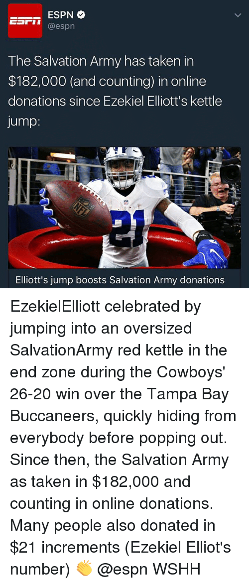 tampa bay buccaneers: ESPN  @espn  The Salvation Army has taken in  $182,000 (and counting) in online  donations since Ezekiel Elliott's kettle  Jump  Elliott's jump boosts Salvation Army donations EzekielElliott celebrated by jumping into an oversized SalvationArmy red kettle in the end zone during the Cowboys' 26-20 win over the Tampa Bay Buccaneers, quickly hiding from everybody before popping out. Since then, the Salvation Army as taken in $182,000 and counting in online donations. Many people also donated in $21 increments (Ezekiel Elliot's number) 👏 @espn WSHH