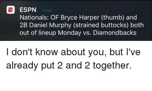 Espn, Bryce Harper, and Monday: ESPN  nOW  Nationals: OF Bryce Harper (thumb) and  2B Daniel Murphy (strained buttocks) both  out of lineup Monday vs. Diamondbacks I don't know about you, but I've already put 2 and 2 together.