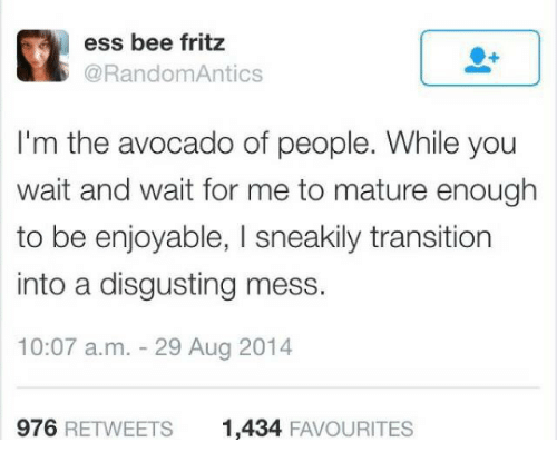 Avocado, Bee, and You: ess bee fritz  @RandomAntics  I'm the avocado of people. While you  wait and wait for me to mature enough  to be enjoyable, I sneakily transition  into a disgusting mess.  10:07 a.m. 29 Aug 2014  976 RETWEETS  1,434 FAVOURITES
