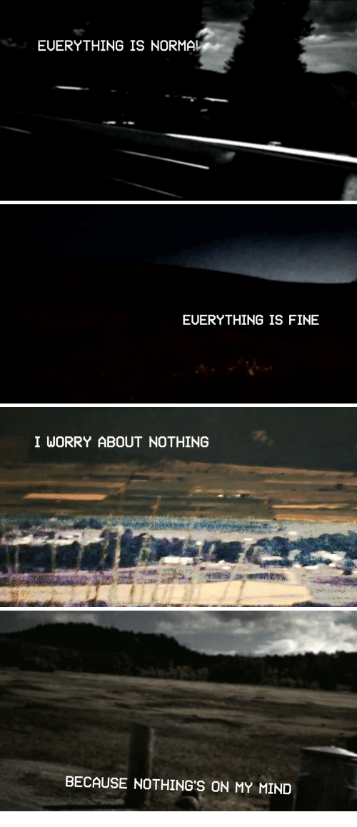 Mind, Fine, and Nothing: EUERYTHING IS NORMA!   EUERYTHING IS FINE   I WORRY ABOUT NOTHING   BECAUSE NOTHING'S ON MY MIND