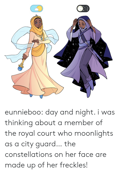 constellations: eunnieboo: day and night. i was thinking about a member of the royal court who moonlights as a city guard… the constellations on her face are made up of her freckles!