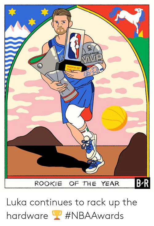 Hardware, Continues, and Rack: EUROLEAGUE  ROOKIE OF  THE  B-R  ROOKIE OF THE YEAR Luka continues to rack up the hardware 🏆  #NBAAwards