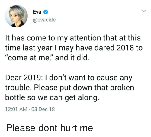 """come at me: Eva  @evacide  It has come to my attention that at this  time last year I may have dared 2018 to  """"come at me,"""" and it did.  Dear 2019: I don't want to cause any  trouble. Please put down that broken  bottle so we can get along  12:01 AM 03 Dec 18 Please dont hurt me"""