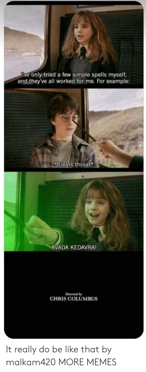 Spells: Eve only tried a few simple spells myself,  and theyve all worked for me. For example:  Clears throat  AVADA KEDAVRA!  Directed by  CHRIS COLUMBUS It really do be like that by malkam420 MORE MEMES