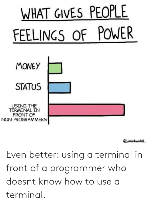 programmer: Even better: using a terminal in front of a programmer who doesnt know how to use a terminal.