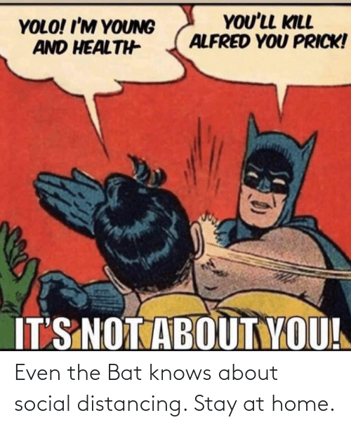 social: Even the Bat knows about social distancing. Stay at home.
