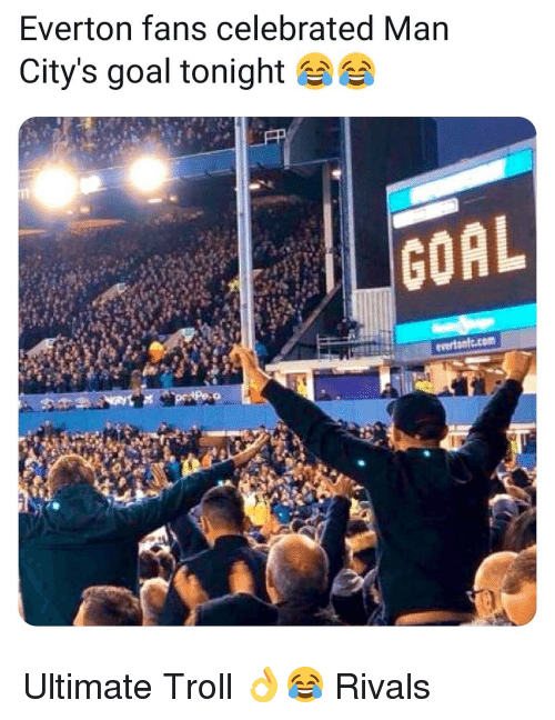 Everton, Memes, and Troll: Everton fans celebrated Man  City's goal tonight  evertonlc.com Ultimate Troll 👌😂 Rivals