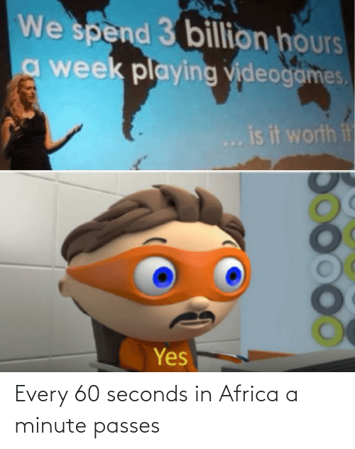 Every: Every 60 seconds in Africa a minute passes