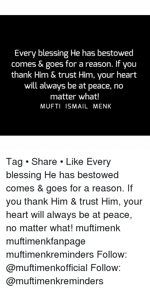 Memes, Heart, and Peace: Every blessing He has bestowed  comes & goes for a reason. If you  thank Him & trust Him, your heart  will always be at peace, no  matter what!  MUFTI ISMAIL MENK Tag • Share • Like Every blessing He has bestowed comes & goes for a reason. If you thank Him & trust Him, your heart will always be at peace, no matter what! muftimenk muftimenkfanpage muftimenkreminders Follow: @muftimenkofficial Follow: @muftimenkreminders