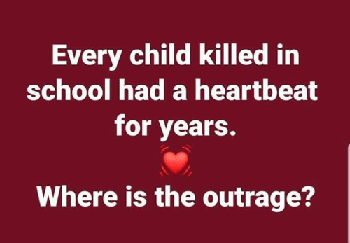 School, Heartbeat, and For: Every child killed irn  school had a heartbeat  for years.  Where is the outrage?
