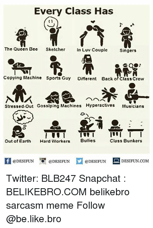 sketchers: Every Class Has  C1  The Queen Bee Sketcher n Luv Couple Singers  Copying Machine Sports Guy Oifferent Back o Class Crew  Stressed.Out Gosslping MachinesHyperactives Musicians  Out of Earth Hard Workers Bulies  Class Bunkers  DESIFUN.COMM Twitter: BLB247 Snapchat : BELIKEBRO.COM belikebro sarcasm meme Follow @be.like.bro
