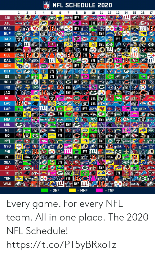 NFL: Every game. For every NFL team. All in one place.  The 2020 NFL Schedule! https://t.co/PT5yBRxoTz
