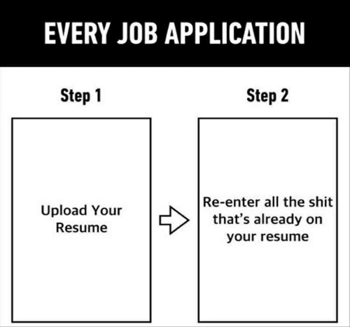 Shit, Resume, and All The: EVERY JOB APPLICATION  Step 2  Step 1  Re-enter all the shit  that's already on  Upload Your  Resume  your resume