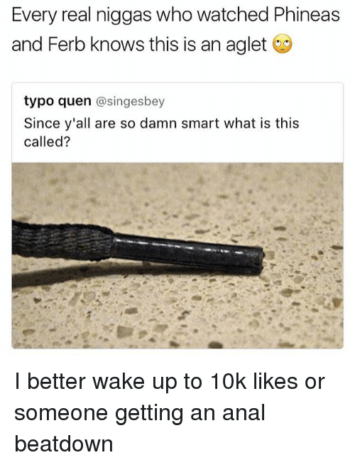 Analism: Every real niggas who watched Phineas  and Ferb knows this is an aglet  typo quen  asingesbey  Since y'all are so damn smart what is this  called? I better wake up to 10k likes or someone getting an anal beatdown