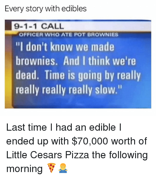 """Pizza, Weed, and Marijuana: Every story with edibles  9-1-1 CALL  """"I don't know we made  brownies. And I think we're  dead. Time is going by really  really really really slow.""""  OFFICER WHO ATE POT BROWNIES Last time I had an edible I ended up with $70,000 worth of Little Cesars Pizza the following morning 🍕🤷♂️"""