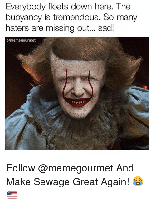 Greatful: Everybody floats down here. The  buoyancy is tremendous. So many  haters are missing out.. sad!  @memegourmet Follow @memegourmet And Make Sewage Great Again! 😂🇺🇸
