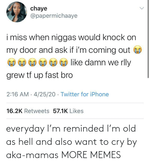 cry: everyday I'm reminded I'm old as hell and also want to cry by aka-mamas MORE MEMES