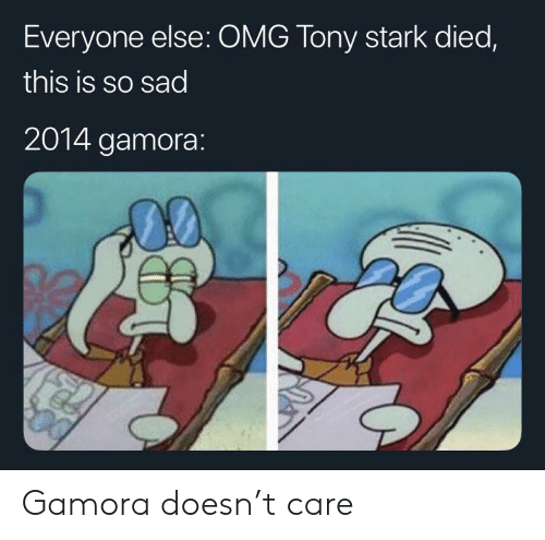 T Care: Everyone else: OMG Tony stark died,  this is so sad  2014 gamora: Gamora doesn't care
