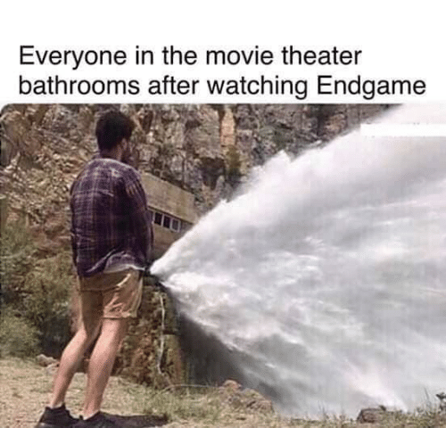 Movie, Movie Theater, and Endgame: Everyone in the movie theater  bathrooms after watching Endgame