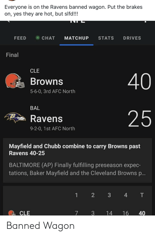 chubb: Everyone is on the Ravens banned wagon. Put the brakes  on, yes they are hot, but slfd!!!  FEED  CHAT  STATS  DRIVES  MATCHUP  Final  CLE  40  Browns  5-6-0, 3rd AFC North  BAL  25  Ravens  9-2-0, 1st AFC North  Mayfield and Chubb combine to carry Browns past  Ravens 40-25  BALTIMORE (AP) Finally fulfilling preseason expec-  tations, Baker Mayfield and the Cleveland Browns ...  2  4  T  1  CLE  7  3  14  16  40  3 Banned Wagon