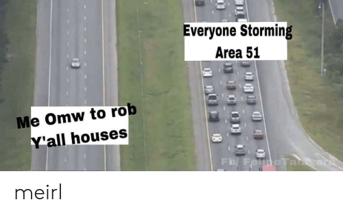 MeIRL, Area 51, and Houses: Everyone Storming  Area 51  Me Omw to rob  Y'all houses  Fo/ FelmeTaikye meirl