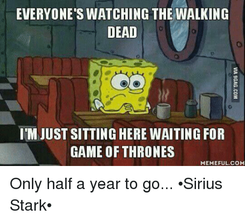 Memes, The Walking Dead, and Sirius: EVERYONE'S WATCHING THE WALKING  DEAD  IM JUST SITTING HERE WAITING FOR  GAME OF THRONES  MEMEFUL COM Only half a year to go... •Sirius Stark•