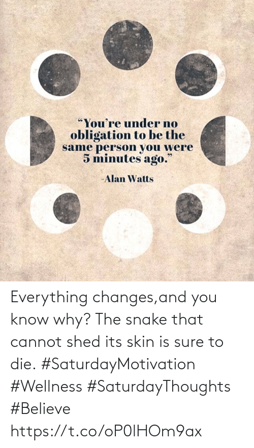 shed: Everything changes,and you know why? The snake that  cannot shed its skin  is sure to die.  #SaturdayMotivation #Wellness #SaturdayThoughts #Believe https://t.co/oP0lHOm9ax