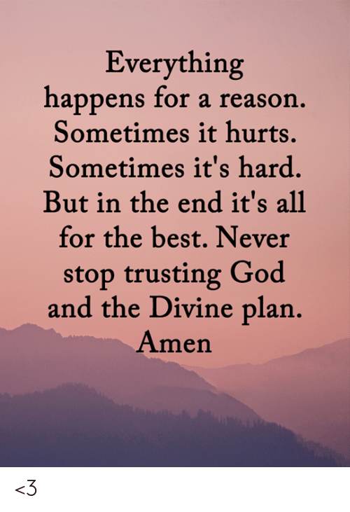 divine: Everything  happens for a reason.  Sometimes it hurts.  Sometimes it's hard.  But in the end it's all  for the best. Never  stop trusting God  and the Divine plan.  Amen <3