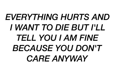 You, Hurts, and Fine: EVERYTHING HURTS AND  I WANT TO DIE BUT I'LL  TELL YOU I AM FINE  BECAUSE YOU DON'T  CARE ANYWAY