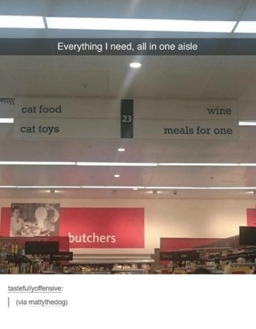 Food Cat: Everything I need, all in one aisle  cat food  cat toys  meals for one  butchers  tastefullyoffensive:  (via ma