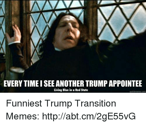 Funniest Trump: EVERYTIMEISEE ANOTHER TRUMPAPPOINTEE  Living Blue in a Red State Funniest Trump Transition Memes: http://abt.cm/2gE55vG