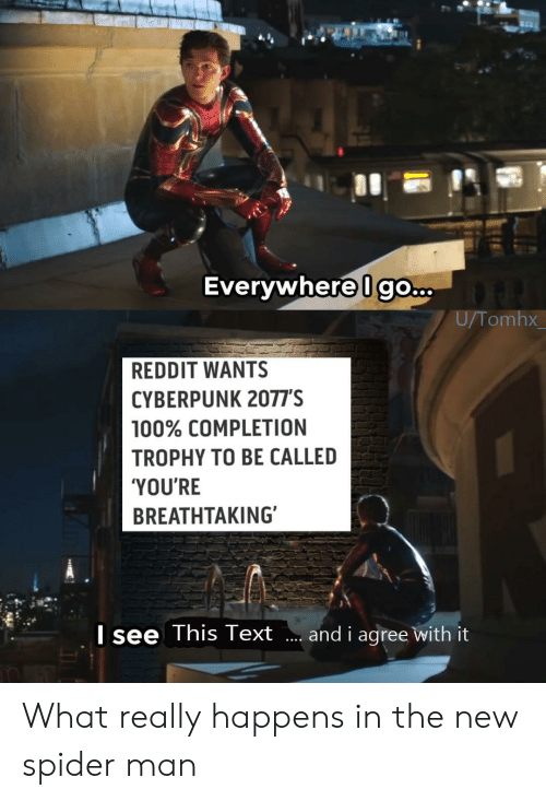 What Really: Everywhere Igo...  U/Tomhx  REDDIT WANTS  CYBERPUNK 2077'S  100% COMPLETION  TROPHY TO BE CALLED  'YOU'RE  BREATHTAKING  Isee This Text  and i agree with it What really happens in the new spider man