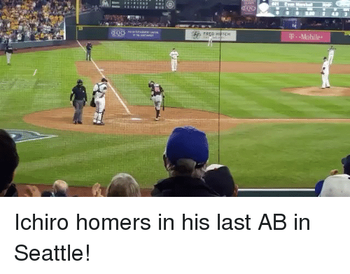 Mlb, Seattle, and Moby: Evim Mashal  RIP  0D  0.00 All 1-ul  45 FREontTCH  -Mobi  段/ Ichiro homers in his last AB in Seattle!