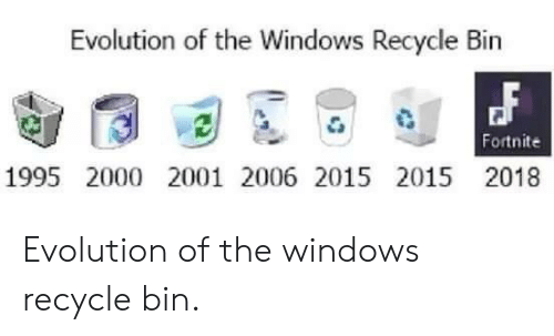 recycle bin: Evolution of the Windows Recycle Bin  Fortnite  1995 2000 2001 2006 2015 2015 2018 Evolution of the windows recycle bin.