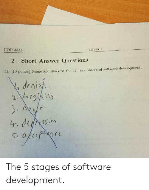 10 Points: Exam 1  COP 3331  Short Answer Questions  2  11. [10 points Name and describe the five key phases of software development  Y denisl  2 barsining  SAgr  4. derssin  fhopmoce  54 The 5 stages of software development.