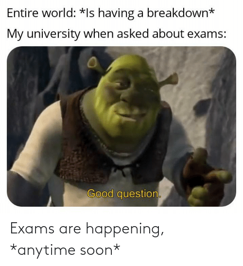 exams: Exams are happening, *anytime soon*