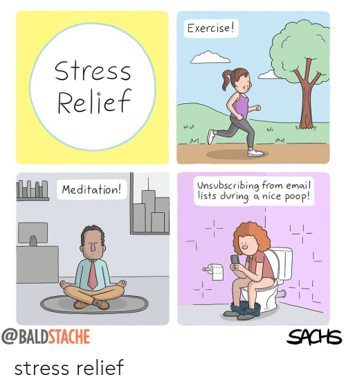 Poop, Email, and Exercise: Exercise!  Stress  Relief  MA M  Meditation!  nsbscribing from email  lists during a nice poop!  @BALDSTACHE  SACHS stress relief