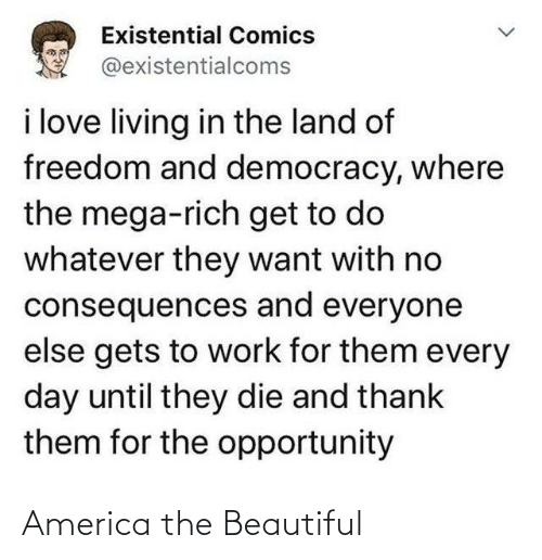 every day: Existential Comics  @existentialcoms  i love living in the land of  freedom and democracy, where  the mega-rich get to do  whatever they want with no  consequences and everyone  else gets to work for them every  day until they die and thank  them for the opportunity America the Beautiful