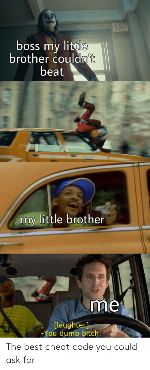 Little Brother: EXIT  boss my little  brother couldn't  beat  my little brother  me  [laughter]  You dumb bitch. The best cheat code you could ask for