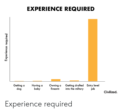 Experience, Baby, and Dog: EXPERIENCE REQUIRED  Getting drafted  into the miltary  Entry level  job  Getting a  dog  Having a  baby  Owning a  firearm  Civilized  Experience required Experience required