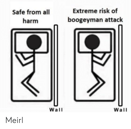 MeIRL, Boogeyman, and Extreme: Extreme risk of  Safe from all  boogeyman attack  harm  Wall  Wall Meirl