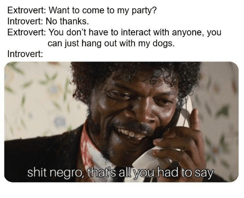 Shit Negro: Extrovert: Want to come to my party?  Introvert: No thanks.  Extrovert: You don't have to interact with anyone, you  can just hang out with my dogs.  Introvert:  shit negro, thats all you had to say