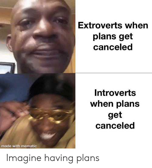 introverts: Extroverts when  plans get  canceled  Introverts  when plans  get  canceled  made with mematic Imagine having plans
