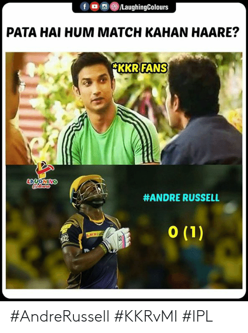 hum: f  回(8)/LaughingColours  。  PATA HAI HUM MATCH KAHAN HAARE?  FANS  KKR  #ANDRE RUSSELL #AndreRussell #KKRvMI #IPL