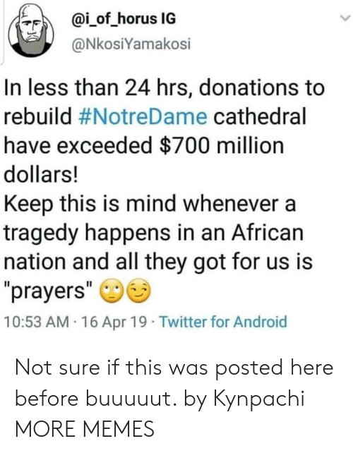 "Android, Dank, and Memes: ?F)  @İ-of-horus IG  @NkosiYamakosi  In less than 24 hrs, donations to  rebuild #NotreDame cathedral  have exceeded $700 million  dollars!  Keep this is mind whenever a  tragedy happens in an African  nation and all they got for us is  prayers""  10:53 AM 16 Apr 19 Twitter for Android Not sure if this was posted here before buuuuut. by Kynpachi MORE MEMES"