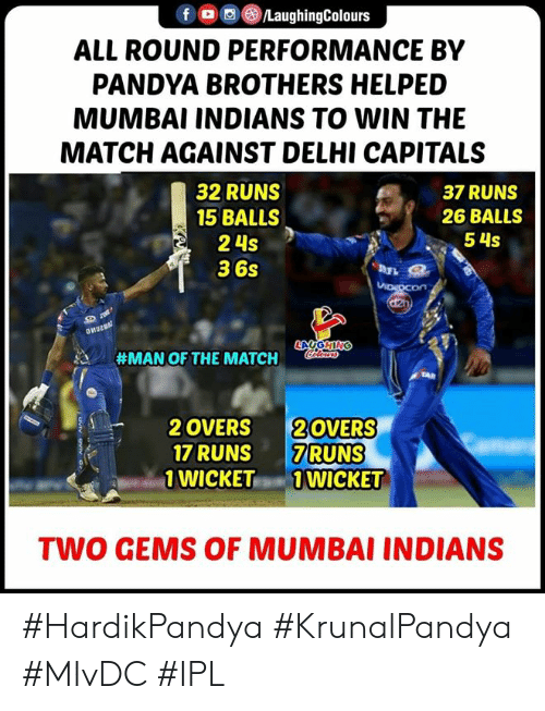 mumbai indians: f/LaughingColours  ALL ROUND PERFORMANCE BY  PANDYA BROTHERS HELPED  MUMBAI INDIANS TO WIN THE  MATCH AGAINST DELHI CAPITALS  32 RUNS  15 BALLS  2 4s  36s  37 RUNS  26 BALLS  54S  #MAN OF THE MATCH  2 OVERS 20VERS  17 RUNS 7RUNS  WICKET1 WICKET  TWO GEMS OF MUMBAI INDIANS #HardikPandya #KrunalPandya #MIvDC #IPL