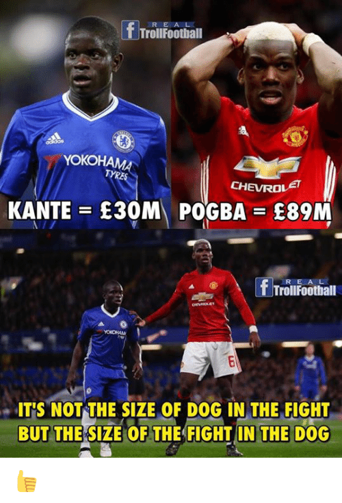 tyree: f Trollfeatball  YOKO  TYRE  CHEVROLET  KANTE E30M POGBA E89M  R E A L  TrollFootball  ITS NOT THE SIZE OF DOG IN THE FIGHT  BUT THE SIZE OF THE FIGHT IN THE DOG 👍