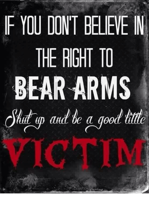 Memes, 🤖, and Bearing: F YIU DONT BELIEVE IN  THE RIGHT TO  BEAR ARMS  allot a  VICTIM